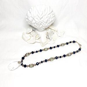 Faceted Glass Crystal Black Swarovski & Silver
